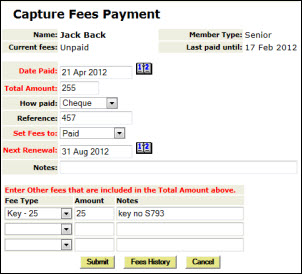Capture fees
